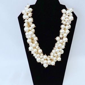 KENNETH JAY LANE~Cluster Pearl Necklace~CREAM/GOLD